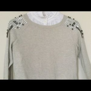 Jeweled shoulders beaded crewneck sweater XS